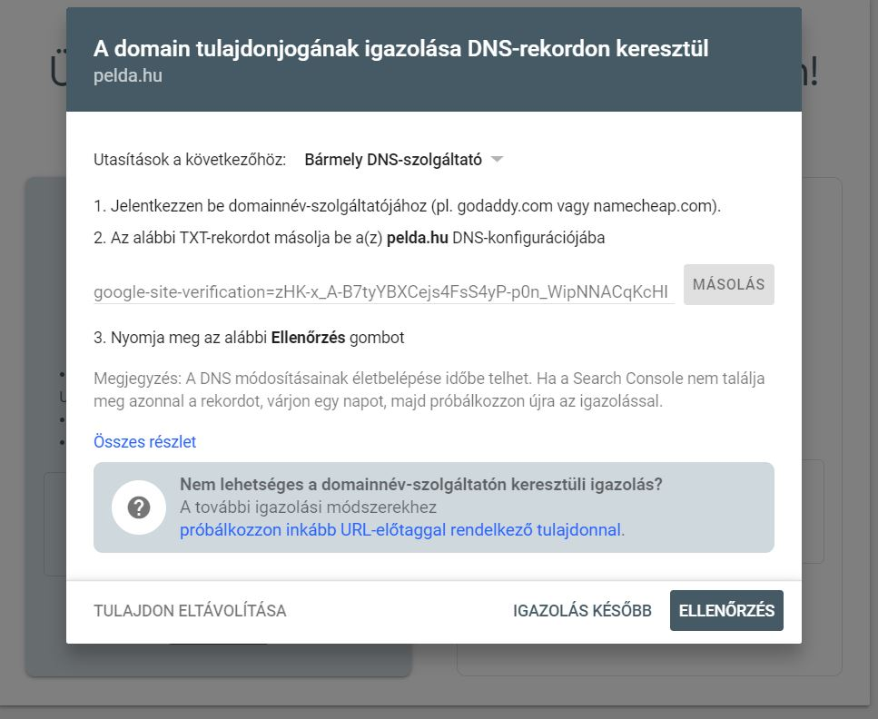 search console belepes tulajdon igazolas