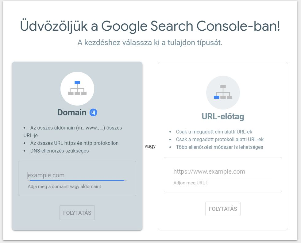 search console belepesi felulet