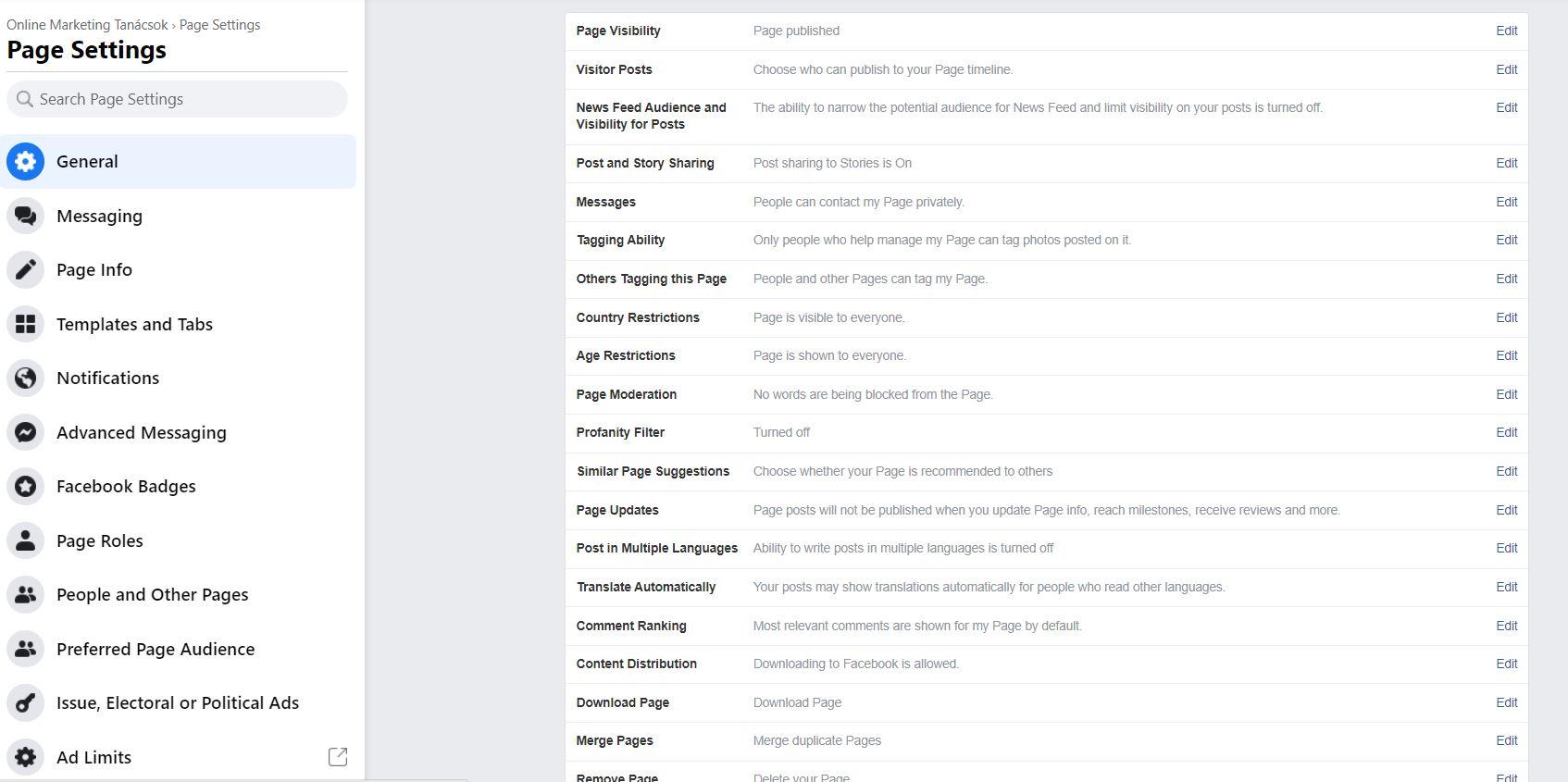 facebook általános oldalbeállítások