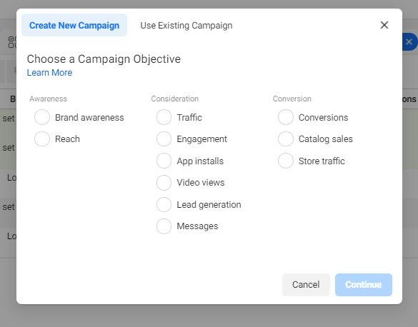 facebook hirdetés cél kiválasztás
