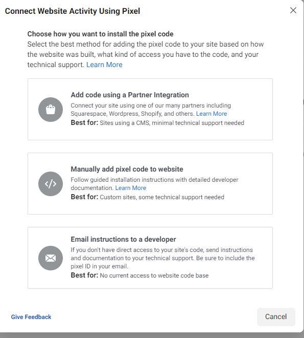 facebook pixel telepítés lehetőségek